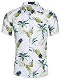 Loveternal Camisa Floral Hombre Camisa Hawaiana Piña Impresión 3D Casual Botón Abajo Manga Corta BBQ Camisa Blanca XXL