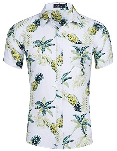 Loveternal Hawaiihemd Herren Ananas Hemd 3D Druck Blumen Funky Freizeit Kurzarm Hawaii Shirt M