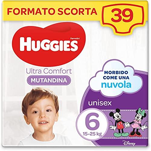 Huggies Ultra Comfort Pannolini Mutandina, Taglia 6 (15-25 Kg), Confezione da 39 Pannolini Mutandina