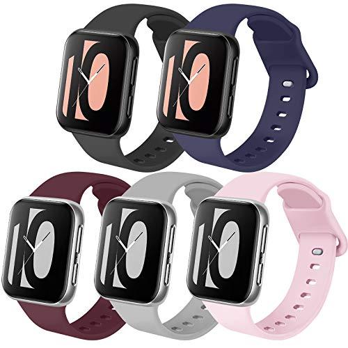 Zoye - Lote de 5 pulseras compatibles con Apple Watch de 38 mm, 42 mm, 40 mm, 44 mm, silicona de repuesto compatible con iWatch Series 6 5 4 3 2 1 Se (Pack B, 38/40 mm-S/M)