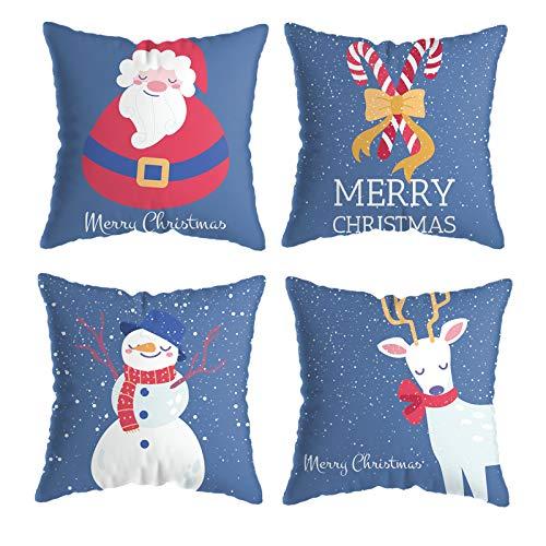 ValueVinylArt Christmas Pillow Covers, Set of 4 Santa Claus Deer Snowman Xmas Throw Pillow Case Soft Plush Cushion Cover Case for Home Sofa Couch Farmhouse Decor 18 x 18 Inch