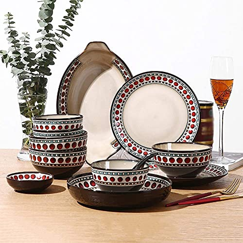 Juego de vajilla de cerámica con cuenco de platos, plato de cena de porcelana de lunares vintage de 31 piezas, cuenco, cuchara, juego de vajilla
