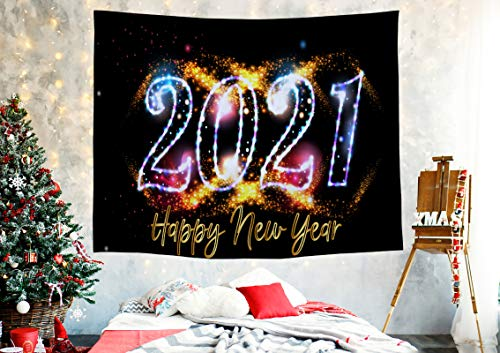 Christmas Tapestry Wall Hanging Decor for Living Room Bedroom Dorm 2021 New Year Holiday Trippy Fireworks HD Print Aesthetic Party Decoration Backdrop-Xmas Gifts for Best Friend,Kids,Teen Girl Large