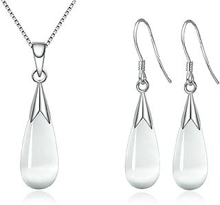 Women Jewelry Set, Teardrop Synthetic Cat Eye Stone Pendant Necklace and Dangle Earrings Set for Women Girls