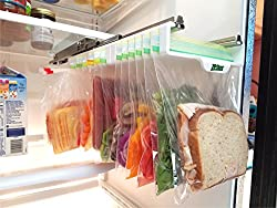 ziploc bag hanger for travel trailer refrigerator to save space and keep organized