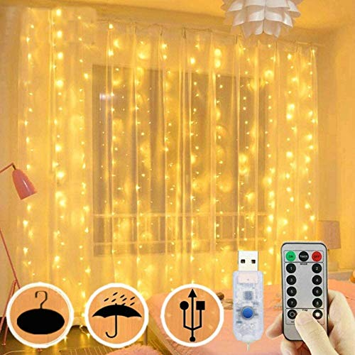 300 LED Curtain Lights, USB Window Lights, 3m x 3m 8 Modes Remote Control Fairy Light Waterproof LED Copper String Lights for Outdoor Indoor Wedding Party Garden Bedroom Decoration, Warm White