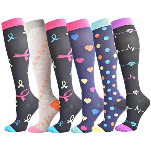 Beeria 6 pares de calcetines de compresión para correr, enfermera, viajes de vuelo, embarazo, circulación y recuperación, adecuado para mujeres y hombres # 6