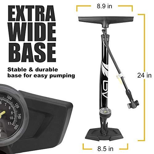 BV(ビーブイ)自転車フロアポンプ自転車空気入れゲージ付き空気入れ自転車ゲージ付クレバーツインヘッド米式/仏式/英式バルブ対応最大空気圧160psi/11bar
