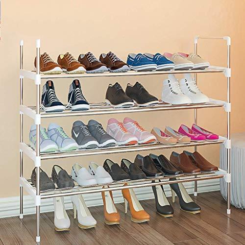 AOLI Estante de zapatos de metal de 4 niveles, estante de zapatos duradero de ahorro de espacio Almacenamiento de entrada Organizador de soporte de zapatos Estante de almacenamiento estable-Blanco 86