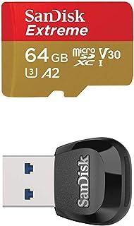 SanDisk Extreme 64GB microSDXC Class 10 Speicherkarte mit SD Adapter, Gold/Rot + MobileMate USB 3.0 Lesegerät