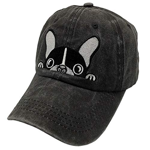 Waldeal Men's Embroidered Boston Terriers Hat Vintage Washed Dad Cap Black
