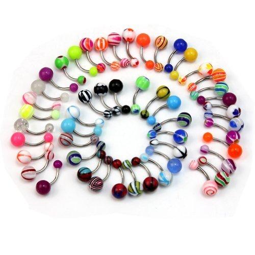 Pinzhi - 50x Piercing de Ombligo de Vientre Acero Inoxidable Múltiples Colores Joyería (Colors&Patterns Randomly)