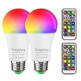 Bombilla LED Colores (2 Pack), Blancas Cálidas& Frías & RGB, E27 9W con Control Remoto, Función de Temporización y Memoria, Luz Ambiente Regulable para Hogar, Decoración, Bar, Fiesta, KTV