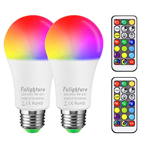 Fulighture LED RGBW Lampe Edison Dimmbare Farbige Leuchtmitte Lampen E27, 9 Farben+ Warmweiß+ Kaltesweiß, Dual Memory, mit Fernbedienung, dekorative Leuchten für Partys Hochzeit Home Décor 2-er Pack