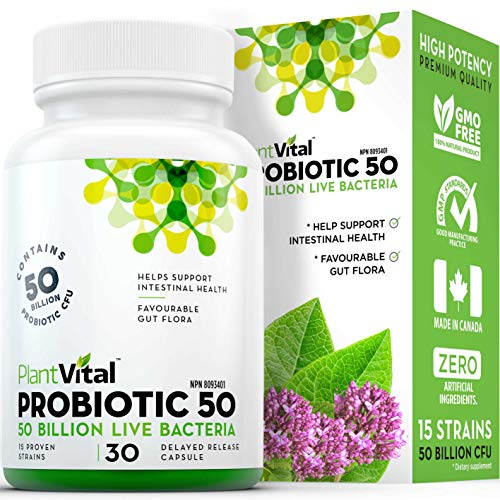 NEW! Probiotics for Women. TRIPLE STRENGTH 50 Billion CFU 15 Bacteria Strains! Shelf-Stable (no refrigeration) Once Daily for Digestive Health Support. Canadian Made Gluten Soy Free. 30 Day Supply - 30 Count (1 Bottle)