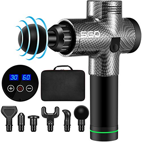 Muscle Massage Gun Deep Tissue Percussion Massager - Handheld Electric Body Massagers Sports Drill for Athletes Pain Relief & Relax Super Quiet Brushless Motor Cordless 30 Speeds Level 6 Heads