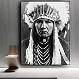 wZUN Pintura al óleo indígena India sobre Lienzo, Carteles e Impresiones en Blanco y Negro, murales nórdicos, Imagen de Sala de Estar 50x70cm