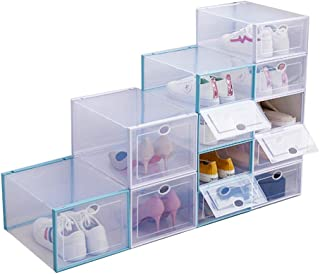 Storage Shoes Box Home Clear Plastic Shoe Storage Box Organizer Clamshell Shoe Boxes Stackable Shoe Container (6, Small)