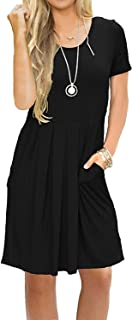 Women's Short Sleeve Pleated Loose Swing Casual Dress with Pockets Knee Length