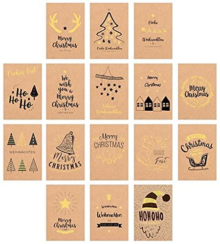 Edition Seidel Set 16 exklusive Premium Weihnachtskarten mit Briefumschlag gedruckt auf Kraftpapier (mit Goldprägung). Glückwunschkarte Weihnachten Karte Christmas Postkarte Weihnachtskarte