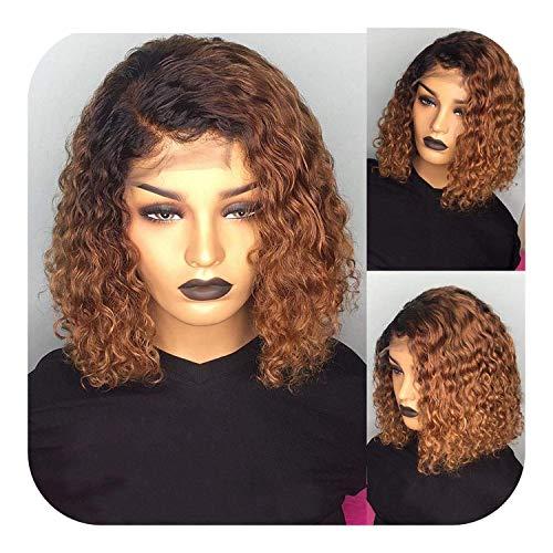 PJPPJH Perruques pour Femmes Cheveux Humains Ombre Rouge Cheveux Courts Courts pré plumés Bouclés Blonde Lace Front Bob Perruque 150 Densité 13X6 Perruque