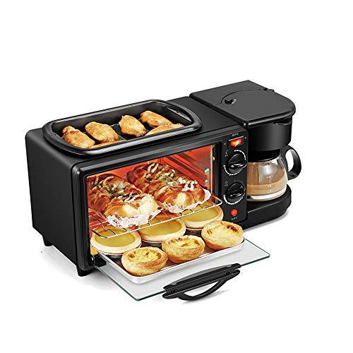 MMZB 3 en 1 estación de Desayuno eléctrica, sartén de tostadora, Mini Pan de Horno, Fabricante de Pizza de sándwich, café, asado Frito, para hogar