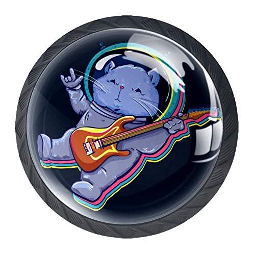 Schublade zieht Griffe Katze im Weltraum mit Gitarrenschrank Schminktisch Kristall Kommode Knopf Zuggriff mit Schrauben 4St
