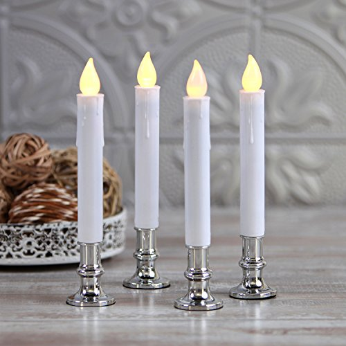 Battery Operated Window Candles - Set of 4, Flameless LED Taper with Silver Holder, Automatic Timer, Suction Cups & Remote Control Included, 7 Inch, Flickering Light, Lighted Christmas Decorations