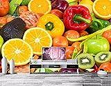 Papier Peint 3D Wallpaper Fruit Vegetables Tomatoes Lemons Wallpapers Coffee Shop Restaurant dinig Room Kitchen wallpaper-3D_350x245cm