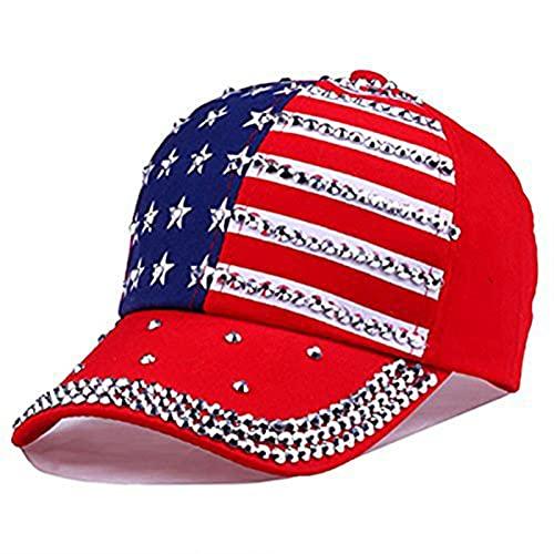 Liaiqing Gorra de béisbol Hombres y Mujeres Moda de Moda encabezar Americano Bandera Americana Hip-Hop al Aire Libre Deportes de la Lengua de Pato Tapa de Pesca (Color : A, Size : One Size)