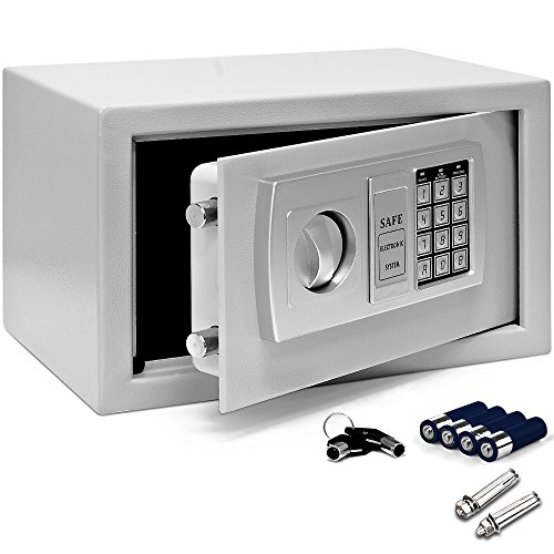 Deuba Tresor Elektronik Zahlenschloss 31x20x20cm LED Doppelstahlbolzen Montagematerial Safe Möbeltresor Silber