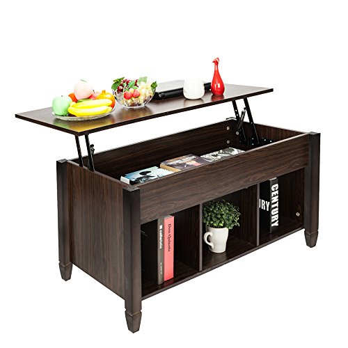 Bonnlo Lift Top Coffee Table with Storage Shelf w/Hidden Compartment and 3 Lower Open Shelves for Living Room,Dark Walnut