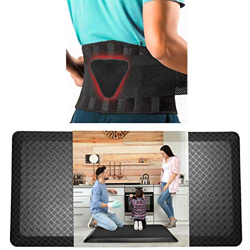 """Bundle of Back Brace and Anti Fatigue Kitchen Mat, Lumbar Support Back Brace for Lifting Black Color Large/X-Large Size and Kitchen Mat / Standing Mat Black 20""""X32"""""""