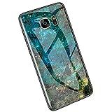 Ysimee Compatible avec Samsung Galaxy S7 Edge Coque en Verre Trempé Revêtement Arrière avec Motif Marbre Housse en TPU Silicone...