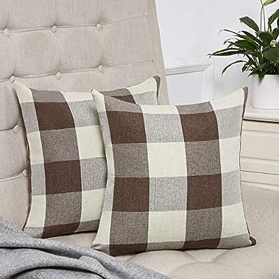 Anickal Set of 2 Buffalo Check Plaid Pillow Covers Farmhouse Decorative Cotton Linen Throw Pillow Covers