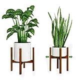 YEALEO Support à Plantes Réglable, 1 Paquet Support à Fleurs Moderne en Bois de Bambou de 21 à 30cm pour Jardinière d'intérieur et d'extérieur - Marron, 1 Paquet