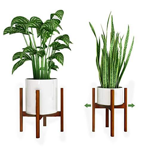 Reservilla Verstellbarer Pflanzenständer Mid Century Wood Blumenständer Modern Blumentopfhalter für den Innen- und Außenbereich, 21-30cm Pflanzgefäß (Bambus-Brown)