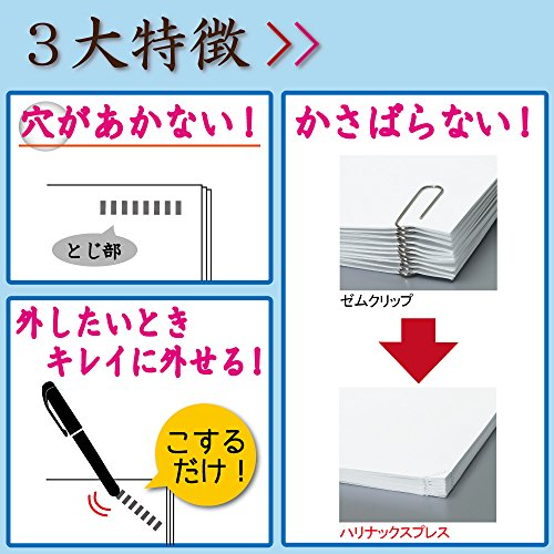 Kokuyo Harinacs Press Staple-free Stapler; With this Item, You Can Staple Pieces of Paper Without Making Any Holes on Paper(White) - 3
