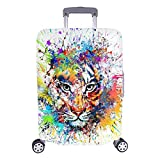 InterestPrint Abstract Watercolor Colorful Tiger Luggage Case Protective Baggage Suitcase Cover for 26'-28' Luggage