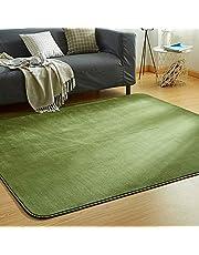 VK Living カーペット ラグ 洗える 滑り止め付 防ダニ 抗菌 防臭 185×185cm(約2畳) 12色選べる 1年中使えるタイプ 床暖房 ホットカーペット対応 ふわっと手触り 優しいフランネルラグ 絨毯 ムジ柄・グリーン
