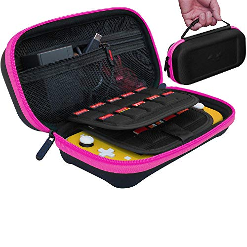 ButterFox Large Carrying Case for Nintendo Switch Lite, Fits AC Adapter Wall Charger, Large Storage for Switch Lite Accessories (Pink/Black)