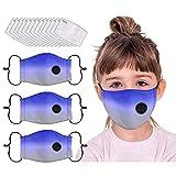 3 Pcs Children Cotton Face Macks Washable Reusable Respirador Vent, 10Pcs Replaceable Carbon Filters, Face Bandanas for Kids Boy Girl (Kids H)