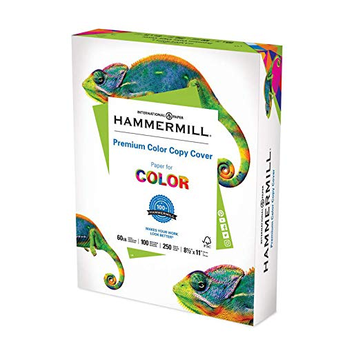 Hammermill Cardstock, 60 lb, 162 GSM, Premium Color Copy, 8.5x11 - 1 Pack (250 Sheets) - 100 Bright, Made In The USA Card Stock