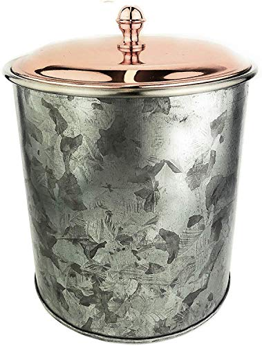 """Galrose Galvanized Iron Insulated Ice Bucket – Rose Gold Lid, 2 Liter Stainless Steel Double Wall 5.5"""" x 6"""" Rustic Wine Chiller or Champagne Bucket. Unique 6th Iron Anniversary or Birthday Gift"""