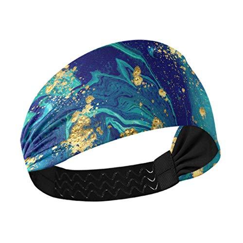 Diademas para mujer Moda Marbled Blue Abstract Liquid Marble Diademas gruesas con correas elásticas antideslizantes para correr Fitness Baloncesto Baile Se adapta a todos los hombres y mujeres
