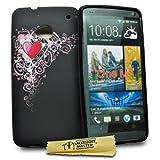 Accessory Master La Conception - Funda de Silicona para HTC One M7, diseño de corazón Rojo