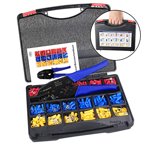 Wire Terminals Crimping Tool Kit with Plastic Box, Preciva AWG22-10 Insulated Ratcheting Terminals Crimper Tool Kit with 700PCS Insulated Butt Bullet Spade Fork Ring Crimp Terminals Connectors