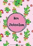 Mein Stickeralbum: Stickeralbum leer zum sammeln von Stickern | Motiv: Kleiner Pinker Kaktus DIN A4 Format mit 40 Seiten für Mädchen und Jungen | Kein Silikonpapier zum wieder abziehen !