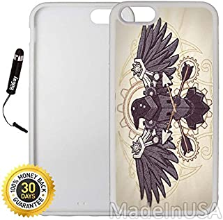 Custom iPhone 6 Plus/6S Plus Case (Steampunk Raven) Edge-to-Edge Rubber White Cover with Shock and Scratch Protection   Lightweight, Ultra-Slim   Includes Stylus Pen by INNOSUB