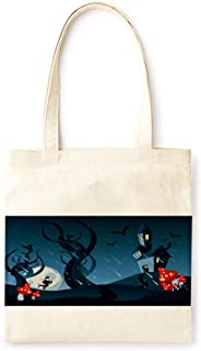 Cotton Canvas Tote Bag Modern Fairy Tale Ancient Castle Mushroom Vintage Style Halloween Party Printed Casual Large Shopping Bag for School Picnic Travel Groceries Books Handbag Design